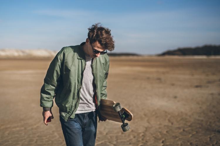 Skateboarder at beach